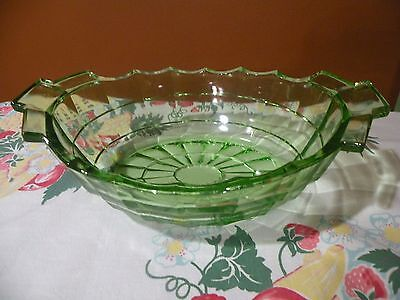 Vintage Indiana Glass TEA ROOM PATTERN Green Depression OVAL SERVING BOWL 11""
