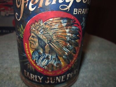 Rare Vintage Original Antique Indian Native American Paper Label Tin Food Can