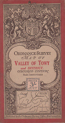 Ordnance Survey Cloth Map Sheet 91 - Valley Of Towy & District 1914 - Coloured