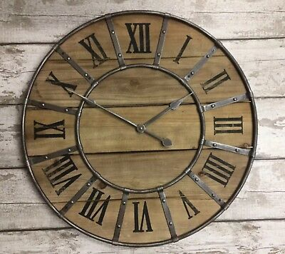 Large 66cm Industrial Metal Rustic Wood Wall Clock Retro Vintage Decor NEW
