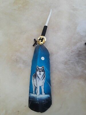 Hand painted feather , WOLF  , ARTS & CRAFTS ,  SOUTHWEST ART , BLUE #2