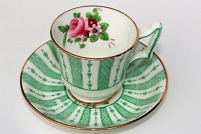 Crown Staffordshire Fine Bone China Demitasse Cup & Saucer Green Lace Pink Rose