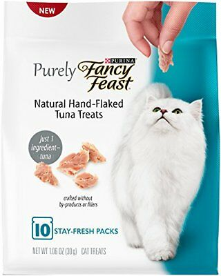 Purely Fancy Feast Natural Hand Flaked Tuna Entree Cat Treat pack of 10