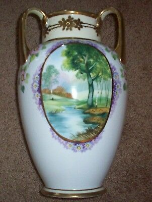 Hand painted Nippon Vase with 3 pictures and 3 handles