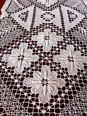 Antique Vintage Greek Lace Thread Work  Doily  Embroidery