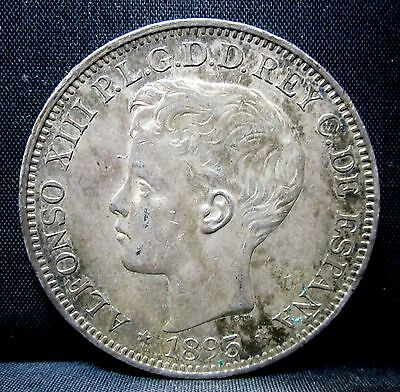1895 Puerto Rico 1 Peso ✪ Ch-Au Almost Uncirculated ✪ Original Luster ◢Trusted◣