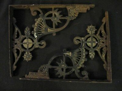 "Antique Victorian Shelf Brackets Ornate 12"" Long By 10"" Long Cast Iron Used"