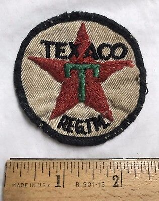 Vintage TEXACO Red Star T Logo Chevron Embroidered Uniform Patch