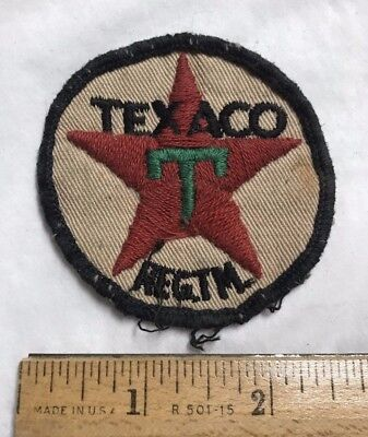 Vintage TEXACO Red Star T Logo Embroidered Round Uniform Patch