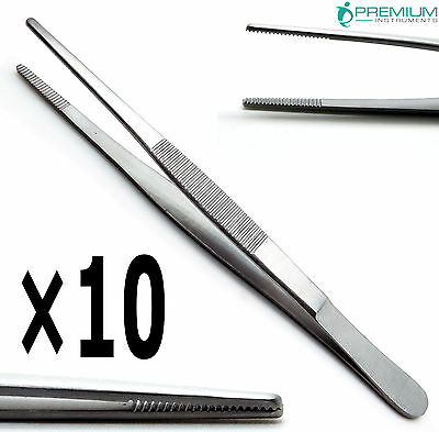 "10× Dressing Tweezer 6"" Tissue Thumb Forceps 2cm Serrated Tip Surgical Tools"