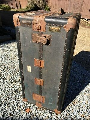 Vintage Antique Hartmann Cushion Top Wardrobe Steamer Trunk