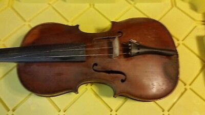 Antique Violin , Bow , Extra Strings And Wood Case With Skeleton Key