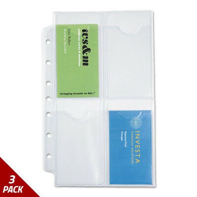 Business Card Holders for Looseleaf Planners 5 1/2x8 1/2 5ct [3 PACK]