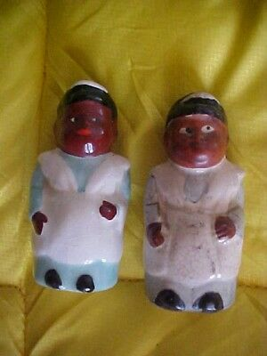 Vintage Black African American Collectible Figurine Salt & Pepper Shakers Japan