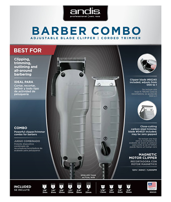 Andis BARBER COMBO #66325 BLADE CLIPPER TRIMMER (ENVY T-OUTLINE) INCLUDED COMBS
