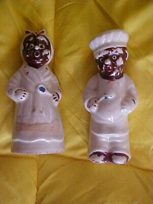 VINTAGE 50's MAMMY & CHEF SALT & PEPPER FIGURINES BLACK AFRICAN AMERICAN JAPAN