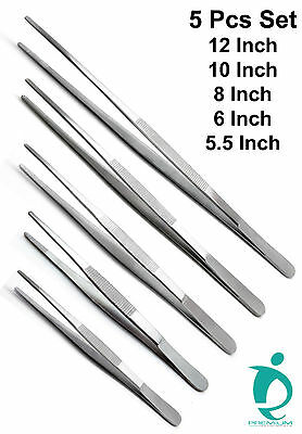 "Dressing Tissue Thumb Forceps 5.5"", 6"", 8"", 10"", 12"" Surgical Tweezers Set of 5"