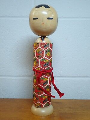 10.5 in tall, Unusual bridoll kokeshi with blank paper Okinawa cloth unused (bd1