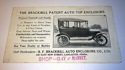 Rare Antique BrackBill Patent Auto Top Enclosure Automobile Advertising Booklet!