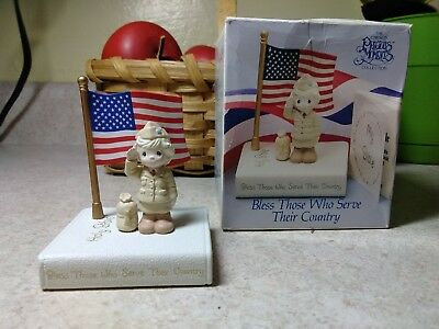 Precious Moments Enesco Minature Bless Those Who Serve Their Country w/ bible