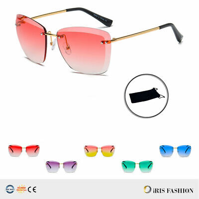 Lens Vintage Retro 70s 80s Fashion Mens Womens Rimless Large Square Sunglasses