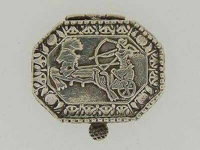 Egyptian or Persian Silver Pill Box Chariot Bow And Arrows SL