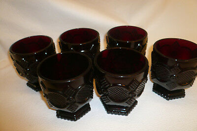 Avon 1876 Cape Cod Collection, Footed Glasses Ruby Red Set Of 6