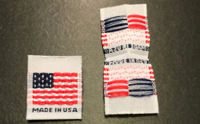100Pcs MADE IN USA FLAG White Centerfold Label Double Sided Clothing Garment Tag