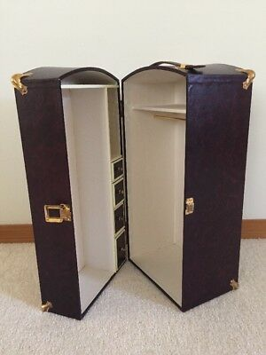 "Vintage WOOD 19"" Steamer Travel Trunk For Dolls Wardrobe ~ FREE Shipping"