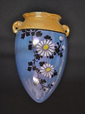 """Vintage Japanese Blue Gold LusterWare Wall Pocket  Hand Painted 5.75"""" Tall 4"""" W"""