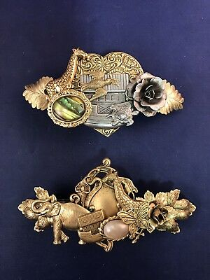 Pair of Vintage French Clip Brass Novelty Barrettes