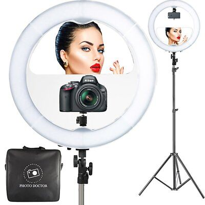 "18"" LED Video Ring Light with Mirror, 6ft Stand Tripod, Youtube, Vlogging Light"