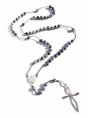 NEW snowflake obsidian rosary beads, silver cross pendant Rosary Beads