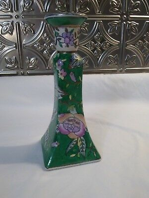 """Antique Chinese Porcelain 9"""" Green/Purple Floral Candlestick Holder"""