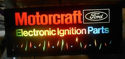 "Ford Motorcraft Lighted Sign ""Electronic Ignition Parts"" Original Box Great Sign"