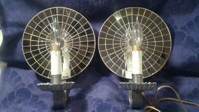 Lot 2 Vintage Convex Mirrored Wall Sconce Tin and Lead Light Fixture