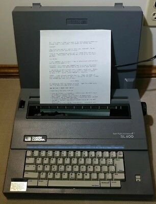 Smith Corona SL 600 Electric Typewriter with Spell Right Dictionary Works Greats