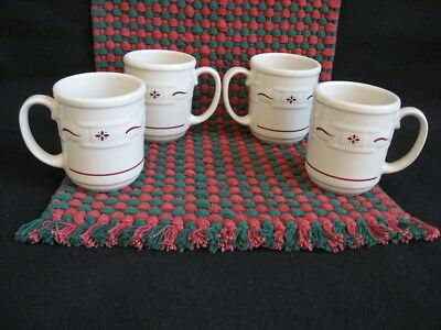 4  Longaberger  Pottery  Traditional Red  Woven Traditions Mugs / Coffee Cups