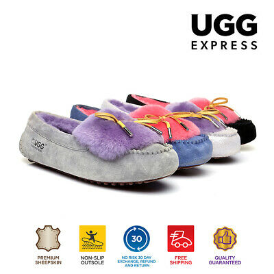 UGG Ladies Fluffy Moccasin Flat Casual Shoes Australian Sheepskin Ballet Loafers