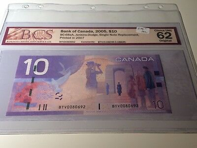 2005 Bank of Canada - $10 Jenkins Dodge Replacement BCS CH UNC 62 - BTV 0080692