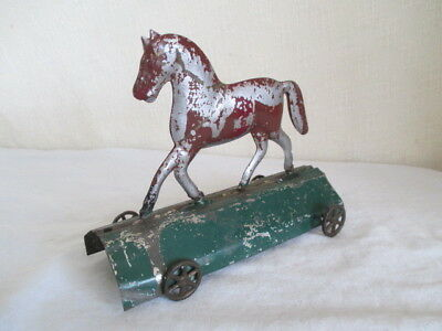Old Tin German? HORSE PULL TOY *Vintage Toy