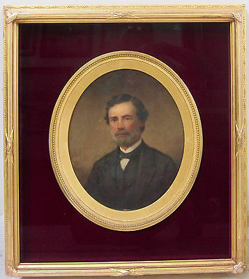 Antique 19th Century American Oil Painting Gentleman Portrait Oval Frame Signed