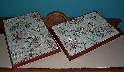2 x LARGE VINTAGE WOOD TRAYS w/- double-sided floral tapestry fabric upholstery