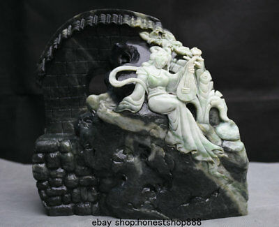 """9"""" Chinese 100% Dushan Jade Master Carving Music Lute Woman Belle House Statue"""