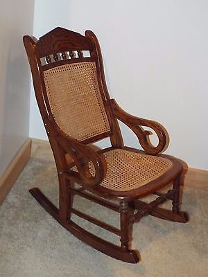 Atq Vtg Child Youth Size Cane Rattan Seat & Back Lincoln Wood Rocking Chair