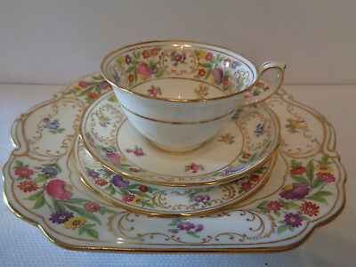 Hammersley Trio **Dresden Flowers** & Matching Cake Plate Excellent Condition