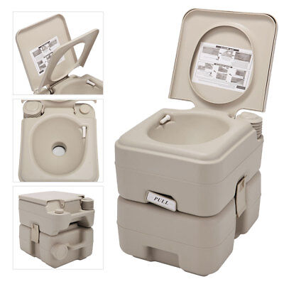 20L 5 Gallon Portable Toilet Flush Camping Travel Outdoor/Indoor Commode Potty