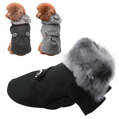 Luxury Small Dog Woolen Fur Collar Coat Chihuahua Clothes Puppy Pet Warm Jacket