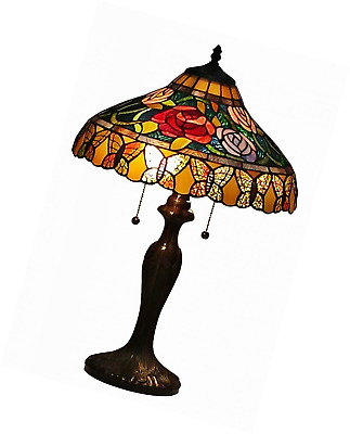 Amora Lighting AM060TL16 Tiffany Style Roses And Butterflies Table Lamp 24 Inche