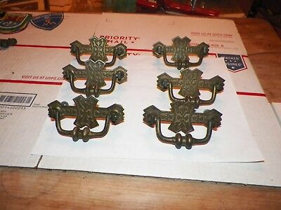 "Set of 6 Antique Heavy Brass Eastlake Furniture Drawer Cabinet Pulls 3 1/4"" Hole"